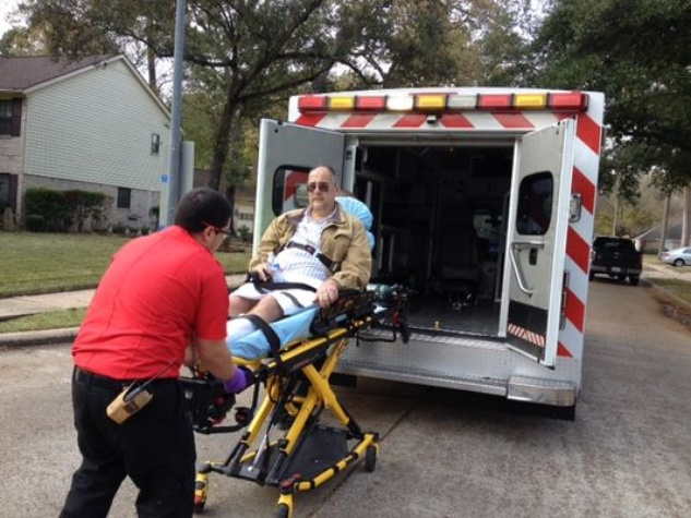 Pitbull attack victim on stretcher North Harris County