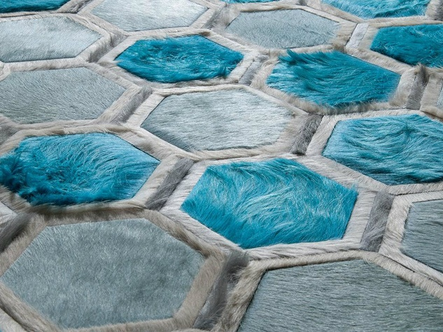 Austin based kyle bunting 39 s cowhide designs are colorful for Cowhide rug houston