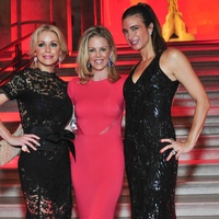 Louvre gowns Joyce Echols, Elizabeth Petersen in Reem Acra and Melissa Mithoff in Naeem Khan June 2013