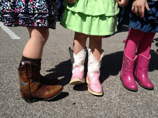 Go Texan Day young girls in cowboy boots