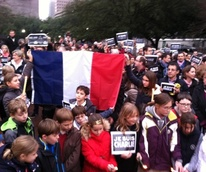 Rally in support of France at Sam Houston Park