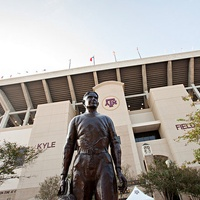 12th Man statue of E. King Gill in front of Kyle Field at Texas a&m cropped