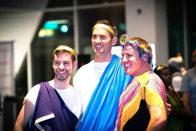 6 Darik Bradley, from left, John Laveck and Greg Griffin at the Bering Omega Toga Party July 2014