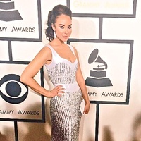 Alexandra Silber wearing Jonathan Blake gown at the Grammy Awards
