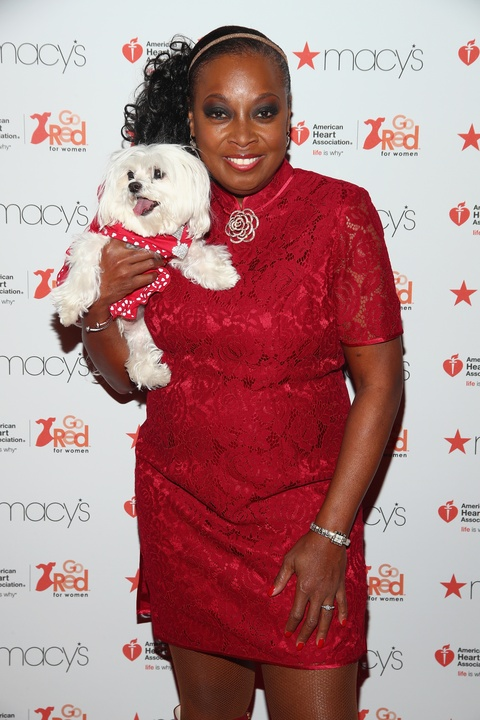 Star Jones and dog Pinky at American Heart Association Red Heart Collection