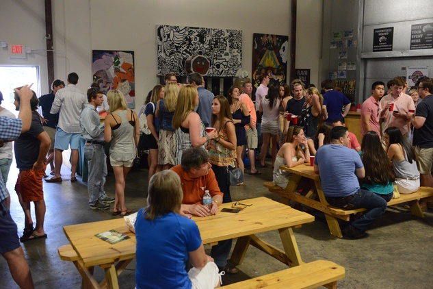 31. The crowd at at the Bayou Preservation Association Herons party June 2014 BPA Buffalo Brewery