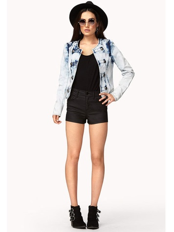 Forever 21 Strinking Acid Wash Bandleader Jacket