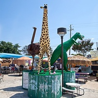 Osterich, giraffe and t-rex statues at the north austin trailer yard.