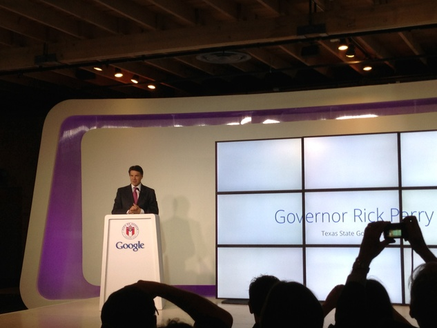 Governor Rick Perry speaks at the Google press conference for Google Fiber