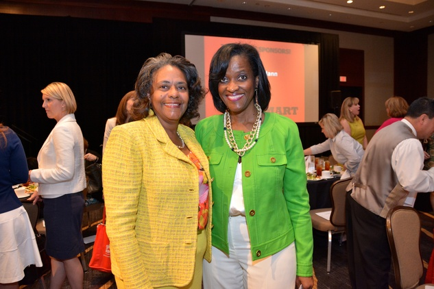 5614 Pamela Ireland, left, and Denise Malloy at the Girls Inc. luncheon May 2014
