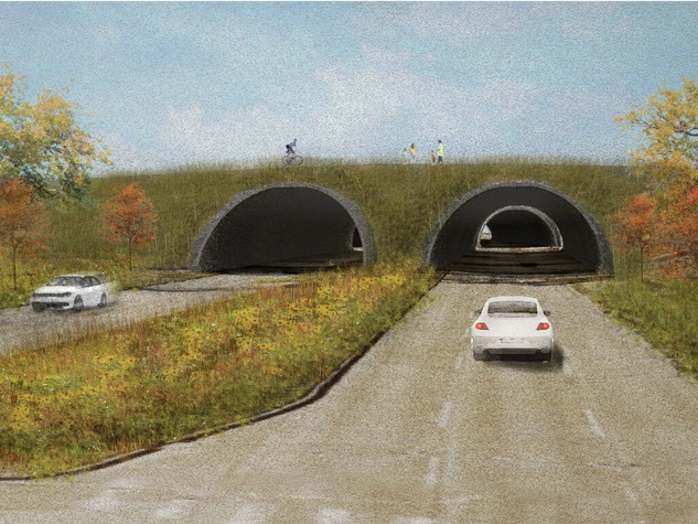 6 - Rendering of proposed Land Bridge at Memorial Park (perspective from Memorial Drive); Rendering courtesy of Nelson Byrd Woltz