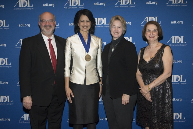Martin Cominksy, from left, Dr. Renu Khator, Mayor Annise Parker and Judith Finkel at the ADL Houston in Concert Against Hate November 2014