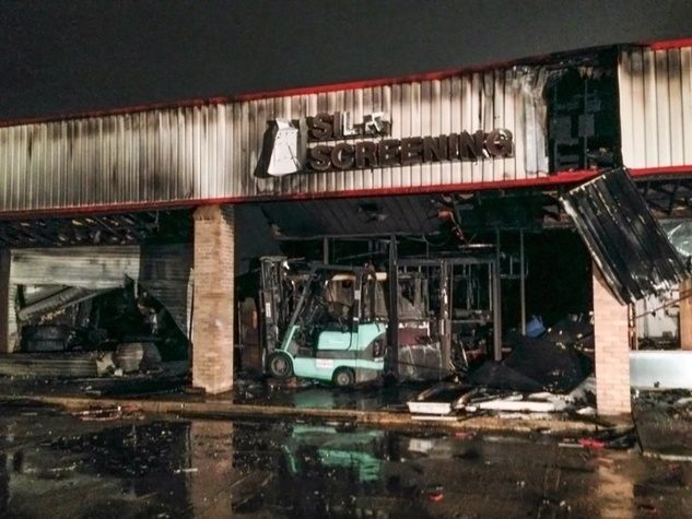 three-alarm fire at strip center near Katy November 2014