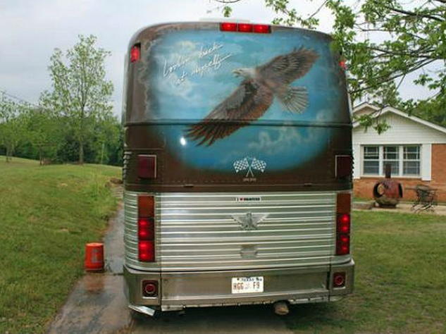rear view of 1983 Eagle tour bus Willie Nelson with eagle mural