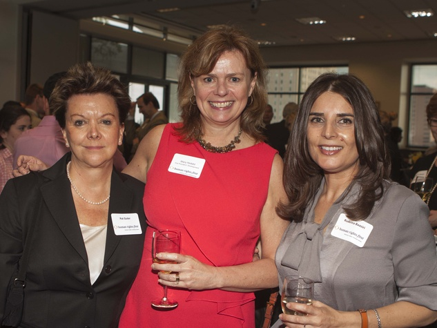 Pat Guter, Mary Hedahl and Rudeina Baasiri at Human Rights First office launch