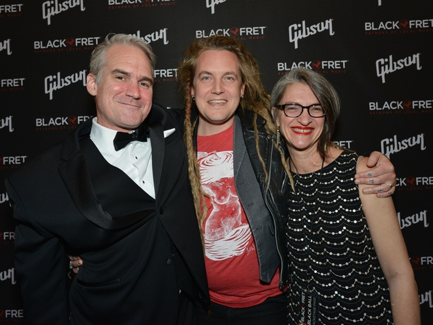 Gibson Black Ball Red Carpet Black Fret co-Founder Matt Ott, Black Fret grant recipient Graham Wilkinson and Black Fret board member Kerry Edwards