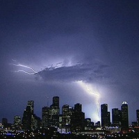 Houston, downtown, skyline, lightning, storm
