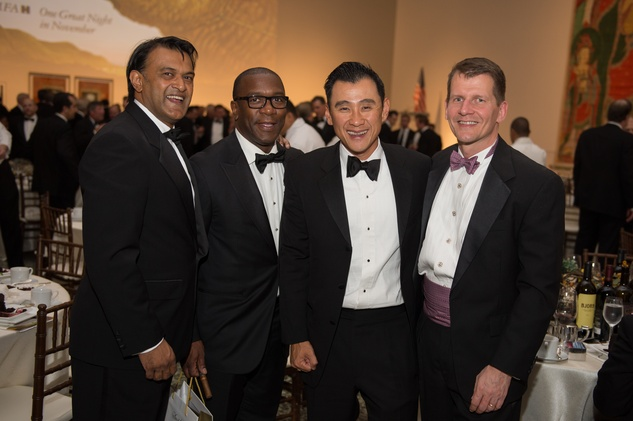 Ramesh Krishnan, from left, Garfield Johnson, Rick Ngo and Cary Moorhead at Museum of Fine Arts Houston MFAH One Great Night November 2014
