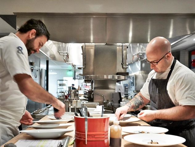 The Pass and Provisions Houston restaurant chefs, Terrence Gallivan and Seth Siegel-Gardner in kitchen
