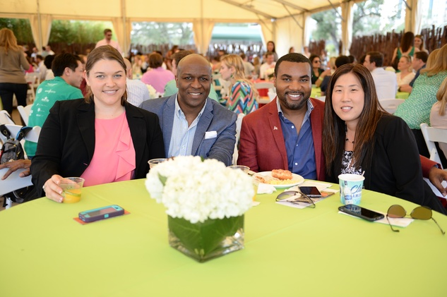 Jacqueline Jones, from left, Ewart Jones, Will Matthews and Charlotte Jungen at Houston's Young Professionals Flock to a Beastly Brunch at the zoo February 2015
