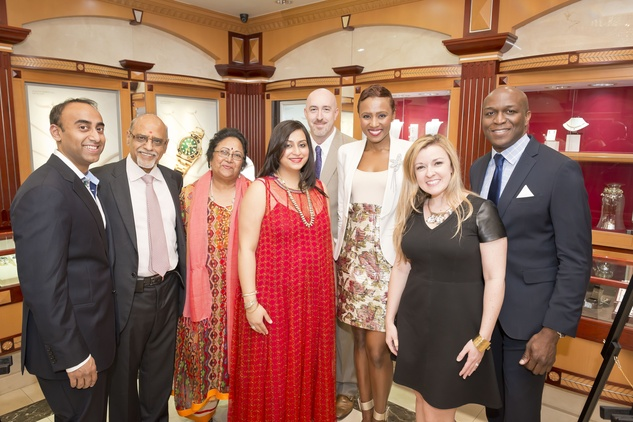 4. Anant Patel, from left, Aku and Meena Patel, Girija Patel, Joseph Schreiber and Shavonnah Roberts Schreiber, Kelly Laning and  Ewart G. Jones Jr. at the Houston Grand Opera Ovation Awards April 2015
