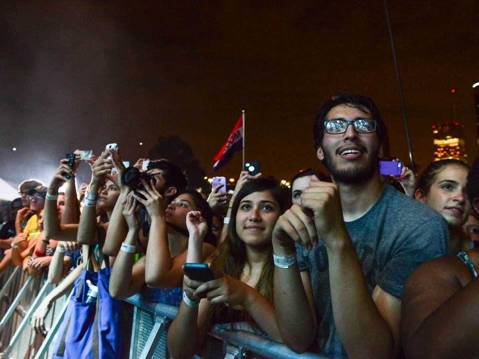 Free Press Summer Fest June 2014 fans at night