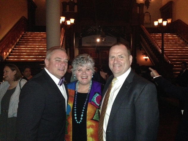 Andy and Brucie Moore, from left, with Perryn Leech HGO The Passenger party in NYC July 2014