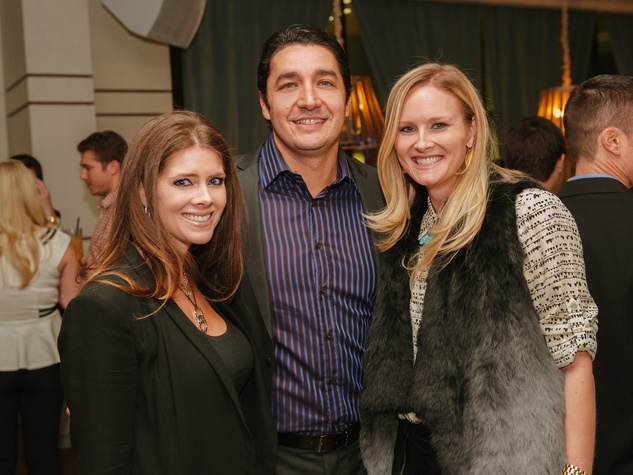 12 Kirsten and William Guerra, from left, with Leigh Evans at the CultureMap Social at Saint Genevieve October 2013