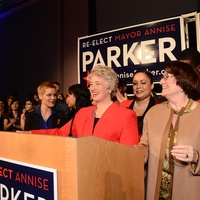 Annise Parker and Kathy Hubbard at election party win November 2013