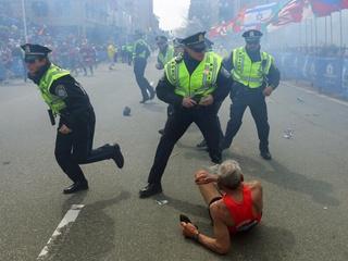Boston Marathon explosion man on ground