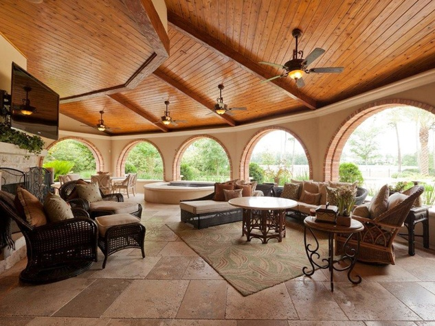 On the Market 15 Grand Regency Circle Enron mansion The Woodlands January 2015 patio deck with hot tub