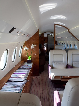Falcon 900EX, jet, private plane, cabin