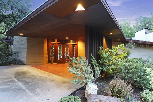 On the Market 12020 Tall Oaks St. Frank Lloyd Wright house July 2014 front exterior