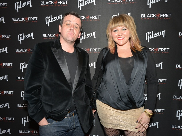 Gibson Black Ball Red Carpet Guests Henri Mazza of Alamo Drafthouse and Danielle Thomas of Big Green House