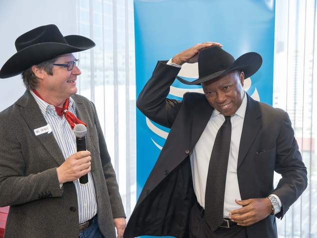 Mike Cavender, Mayor Sylvester Turner at Mayor's Rodeo Kick-off Breakfast
