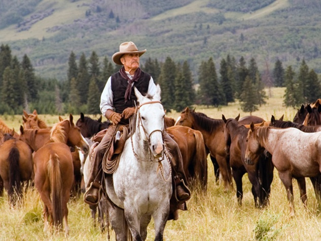 Robert Duvall in Lonesome Dove riding a horse