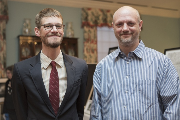 8 Jason Dibley, left, and Will Michels at the Houston Center for Photography Print Auction February 2015
