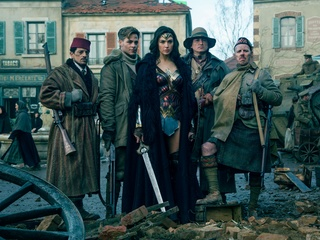 Said Taghmaoui, Chris Pine, Gal Gadot, Eugene Brave Rock, and Ewen Bremner in Wonder Woman