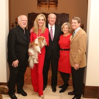 Alley Theater Holiday Party, December 2012, Gregory Boyd, Jana Arnoldy (holding Grace Kelly), Scotty Arnoldy, Jane Gladden, Dean Gladden