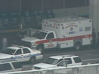 Ambulance outside of Bush Intercontinental Airport after shooting