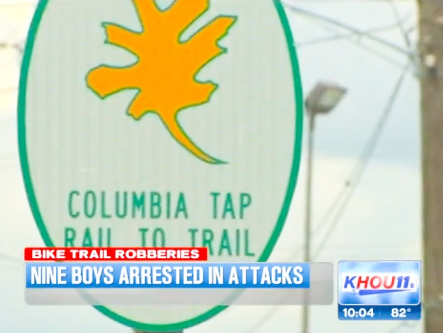 gang member boys arrested in Columbia Tap Rail to Trail attacks bike route September 2013