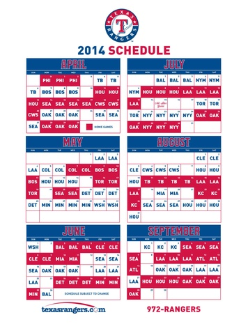 Texas Rangers 2014 schedule