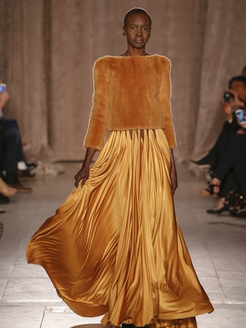 Model Alek Wek in Zac Posen gown from fall 2015 collection