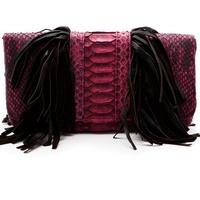 Heather, Presmer, burgundy color trend, September 2012, python and suede fringe clutch, $365
