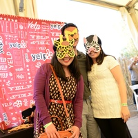 Guests at the Yelp Selfie Booth at Houston's Young Professionals Flock to a Beastly Brunch at the zoo February 2015
