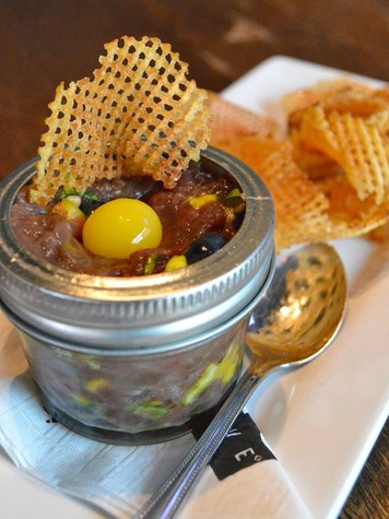 Venison and blueberry tartare at Max's Wine Dive in Austin