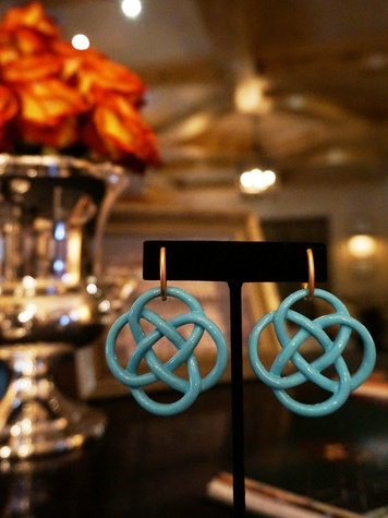 MRS. B Collection Open House Cathy Borlenghi jewelry October 2014 Love Knot earrings in turqoise
