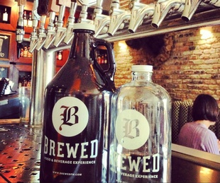 Growlers at Brewed pub and coffee shop in Fort Worth