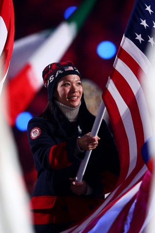 Ralph Lauren Olympics closing ceremony coat worn by Julie Chu