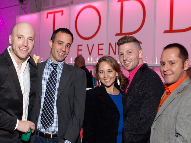 8 Ian Clowes, from left, Shane Meyer, Gretchen Holmes, Taylor DeMartino and Keith Barnett at the Social Book Launch Party February 2014